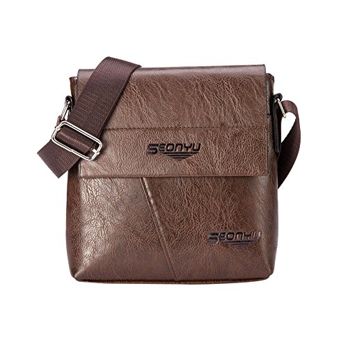 Handbag Bag Brown Flap Business Bag Tote Acrossbady Bag PU Handsome Fashion Chest Bag Leather Men Shoulder Feitengtd EqUw8x