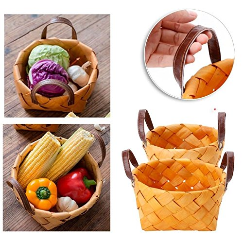 OKOKMALL US--Wooden Woven Storage Handmade Basket Decor Fruit Food Sundries Picnic Organizer