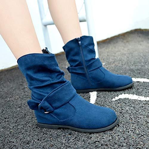 Schuhe OYSOHE Weiche Booties Stiefel Damen Stellten Knöchel Flache Füße Stiefel Mittlere Blau Weinlese XHrXwY