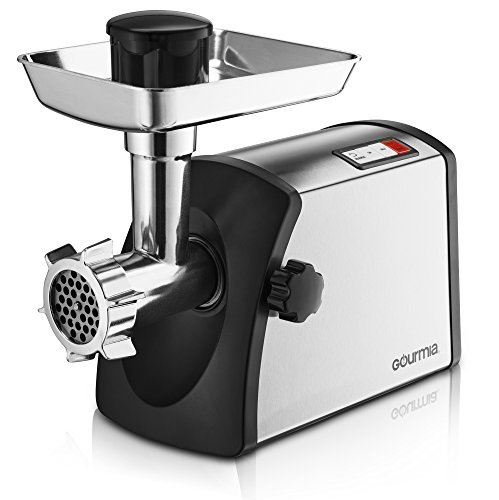 Gourmia GMG7500 Prime Plus Stainless Steel Electric Meat Grinder Different Grinding Plates, Sausage Funnels And Kibbeh Attachment Recipe Book Included 800 Watts ETL Approved 2200 Watts Max. - 110V