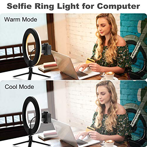 Selfie Ring Light with Tripod Stand - Desk Ring Lights for Laptop Computer Video Conference, Circle Light for Video Recording, Zoom Meeting, Webcam, Camera, Makeup, Reading (8 INCH)