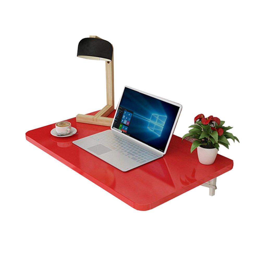LXLA- Mesa de Comedor de Cocina Escritorio Plegable de Pared Equipo Estación de Trabajo de Estudio Sala de Estar Organizador de Hojas Sueltas Dormitorio multifunción Rojo (Tamaño : 80times;50cm)