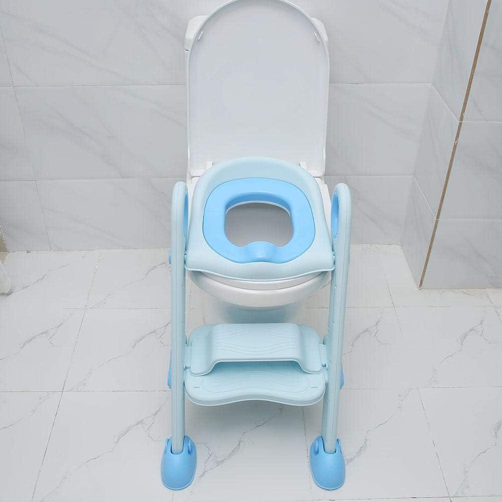 Zerone Aseo Escalera Asiento Escalera de Ni/ños Asiento de Entrenamiento de Inodoro Ajustable y Plegable para Beb/és de 2 a 8 A/ños Azul