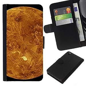 KLONGSHOP // Tirón de la caja Cartera de cuero con ranuras para tarjetas - Planeta Rojo Marte Amarillo Cráteres Paisaje Vista - HTC DESIRE 816 //