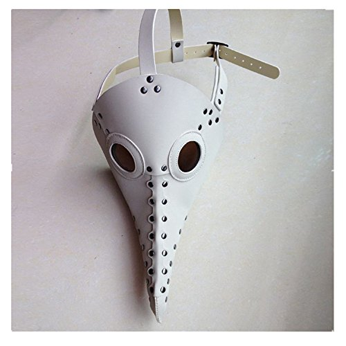 Kangkang@ Plague Bird mask Doctor mask Long Nose Cosplay Fancy Mask Exclusive Gothic Steampunk Retro Rock Leather Halloween mask (White) (Long Nose Halloween Mask)