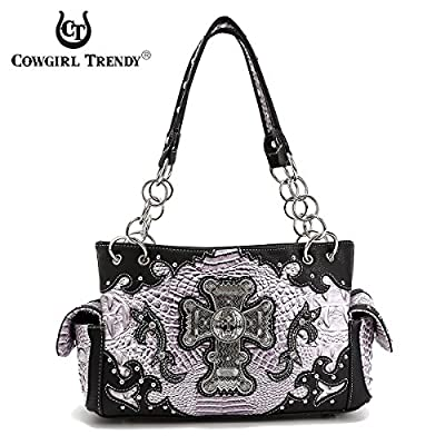 Cowgirl Trendy Western Cross Alligator Pattern Concealed Carry Purse Shoulder Handbag Wallet SET Black