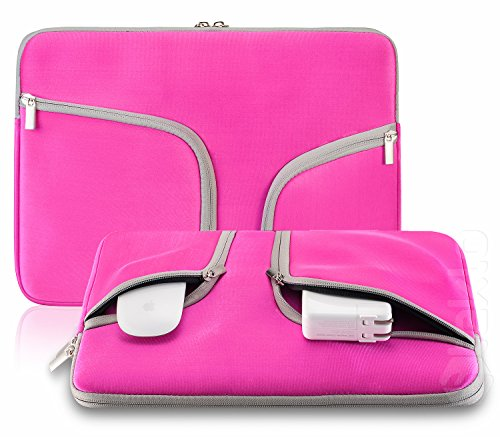 Steklo Laptop Sleeve 13 inch Neoprene MacBook Sleeve Case - Perfect MacBook Sleeve Cover with Pockets for MacBook Pro 13 inch Sleeve and MacBook Air 13 inch Sleeve, Laptop Bag 13 inch - HOT Pink