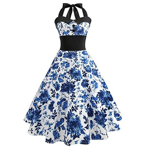iLUGU Women Vintage Printing Bodycon Sleeveless Halter Evening Party Prom Swing Dress ()