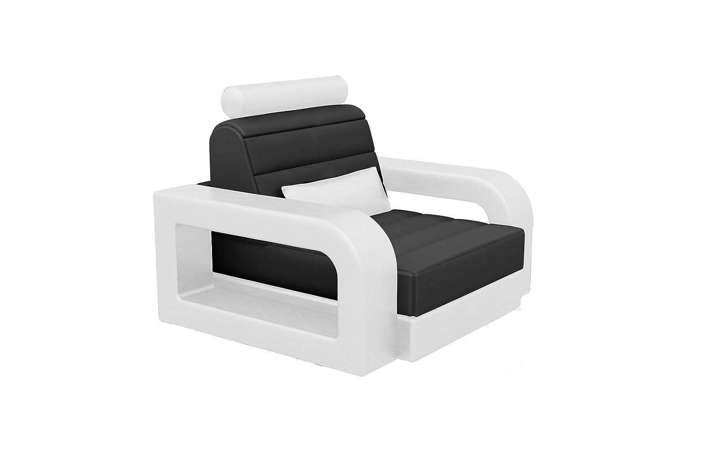 SAM® Stilvoller Design Wohnzimmersessel in weiß / schwarz pflegeleichte Oberfläche bequeme Polsterung und modernes Design Kopfstütze verstellbar Lieferung montiert mit einer Spedition