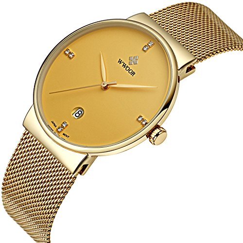 Tamlee Men Gold Plated Slim Stylish Fashion Casual Wristwatch Business Stainless Steel Mesh Analog Quartz Watch (Gold Gold Plated Wrist Watch)