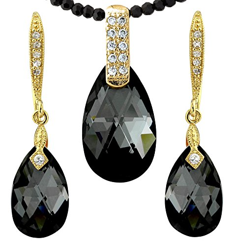 Gold And Black Costume Jewelry (Black Crystal Chain and Black Drops Jewelry - Gold Tone - Swarovski Elements Crystals - For Her)