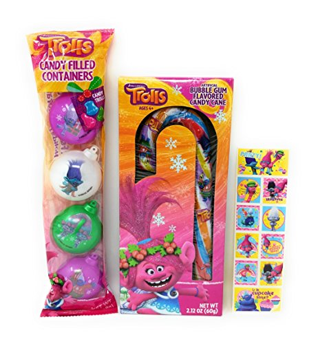 Dreamworks Trolls Jumbo Candy Cane, Candy Filled Ornament Containers with Sticker Strip Stocking Stuffer - 3 Piece (Canes Candy Stickers)