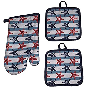 Set of 3, Printed Design Nautical Collection Ultra Absorbent Kitchen Set, Includes: 2 Pot Holders and 1 Oven Mitt. (Starfish)