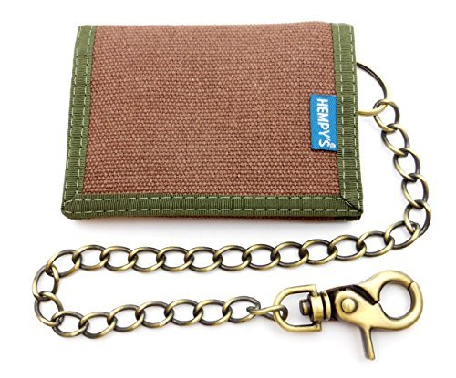 Hempy's Hemp Tri-fold Wallet with Chain - Brown - One Size