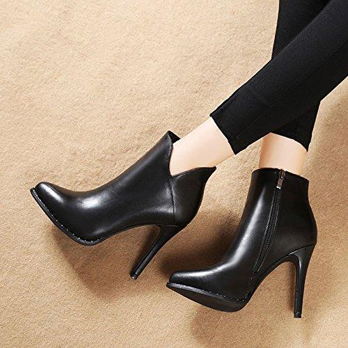 autunno una gli sono stivali in nuova donna con impermeabili col le stivali coreana alto e inverno tacco scarpe in GTVERNH martin stivali black multa qO4YwzW