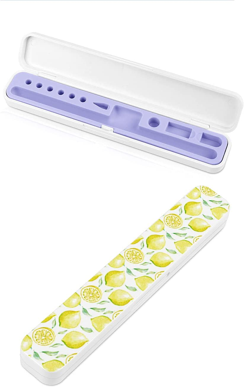Yellow Lemon Patterns Apple Pencil Case and Stand for Apple/iPad Pencil Holder Case-Shell Storage Box Compatible with Apple Pencil 1st 2nd Generation (Apple Pencil and Accessories not Included)