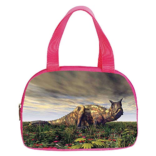 "iPrint Increase Capacity Small Handbag Pink,Jurassic Decor,Dinosaur Carnotaurus Dark Clouds Sky Primeval Times Wilderness Plants Flowers Decorative,for Girls,3D Print Design.6.3""x9.4""x1.6"""