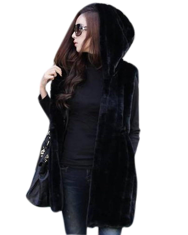 Roiii Luxury Women Faux Fur Coat Casual Hood Parka Ladies Long Trench Jacket Outwear