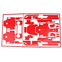 Teepao Skin for DJI Mavic Pro Luxury Precision DIY Carbon Fiber Decals Waterproof Stickers Drone Transmitter Battery Full Covers Set - Red