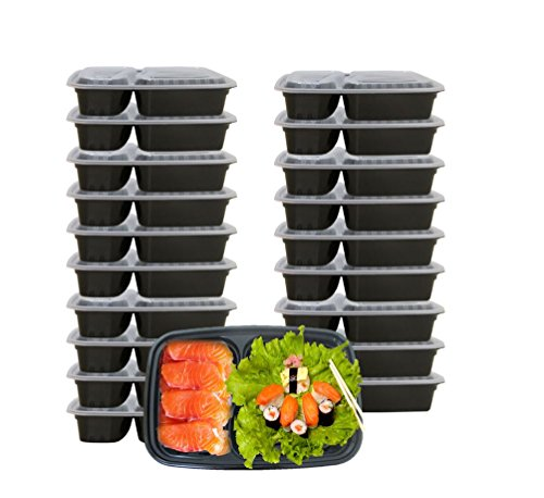 20 Pack 2 Compartment Black Food Storage Containers Lunch Bento Boxes With Lids, 32 Oz, Portion Control. Reusable-Stackable Microwave-Dishwasher Safe Fitness Control Meal Prep Lunch Boxes.