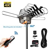 HDTV Antenna Amplified Digital Outdoor Antenna -150 Miles Range-360 Degree Rotation Wireless Remote