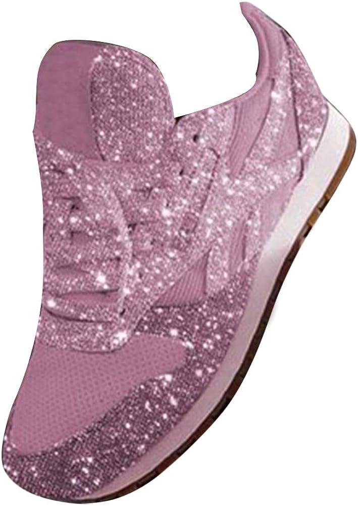 Damen Sneakers Spitze Pailletten Sportschuhe Schnürer 75556 Schuhe