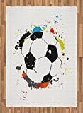 Boy's Room Area Rug by Lunarable, Abstract Grunge Soccer Ball in Rainbow Colors Game Hobby Activity, Flat Woven Accent Rug for Living Room Bedroom Dining Room, 5.2 x 7.5 FT, Black White Multicolor