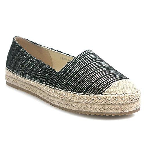 Kayla shoes Damen Schuhe Espadrilles Slipper Pailletten LL57 Black 38