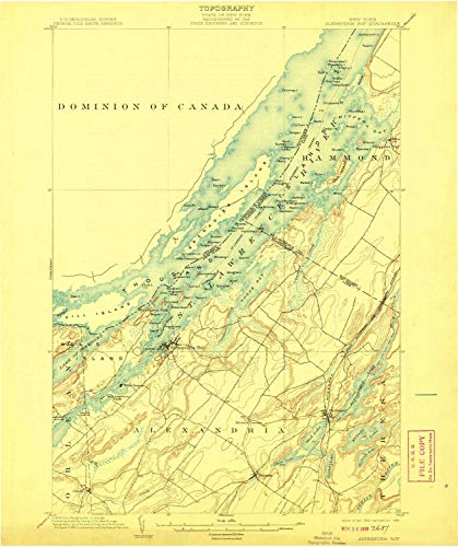 YellowMaps Alexandria Bay NY topo map, 1:62500 Scale, 15 X 15 Minute, Historical, 1903, Updated 1908, 19.7 x 16.5 in - Tyvek