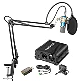 Neewer Home Studio NW-700 Blue Condenser Microphone Kit with Silver Shock Mount,NW-35 Boom Scissor Arm Stand,48V Phantom Power Supply,XLR Cable,Pop Filter and Type-A USB External Stereo Sound Adapter