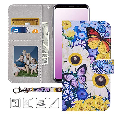 Galaxy S9 Plus Wallet Case, S9 Plus Case,MagicSky Premium PU Leather Flip Folio Case Cover with Wrist Strap, Card Holder,Cash Pocket,Kickstand for Samsung Galaxy S9 Plus(Butterfly Over Flowers)