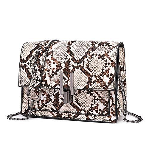 New Fashion Small Snake Print Flap Shoulder Bag Female Pu Leather Chain Crossbody Handbags,Khaki