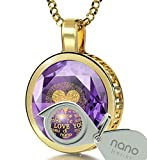 14k Yellow Gold I Love You Necklace 24k Gold Inscribed in 120 Languages on Violet CZ, 18'' Gold Filled
