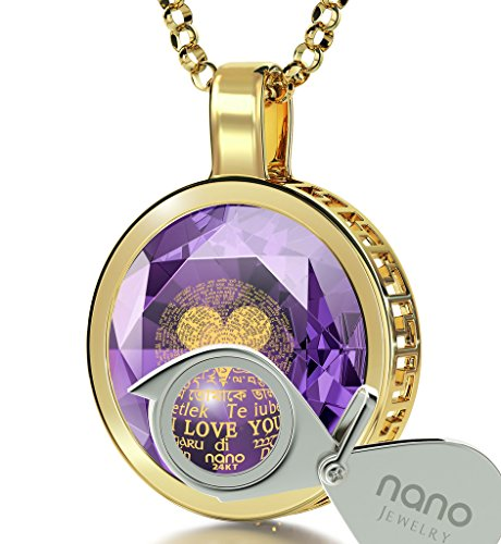 14k Yellow Gold I Love You Necklace 24k Gold Inscribed in 120 Languages on Violet CZ, 18'' Gold Filled by Nano Jewelry