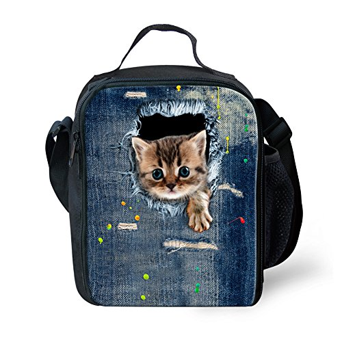 - Mumeson Kitty Blue Denim Pattern Thermal Insulated Lunch Bag Organizer for Kids Cooler Box Lunchbag Handbag