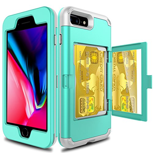 Elegant Choise Compatible with iPhone 8 Plus Case, iPhone 7 Plus Wallet Case, Heavy Duty Shockproof Defender Wallet Case with Hidden Back Mirror and Card Holder Protective Case Cover (Turquoise)