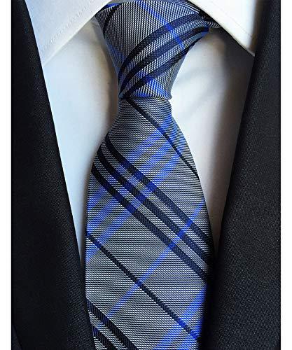Men's Classic Checks Light Gray Jacquard Woven Silk Tie Necktie + Gift Box