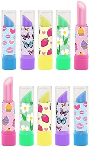 Choose Qty Lipstick Erasers Rubbers Girls Party Bag Fillers Assorted Designs