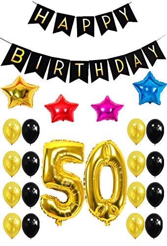 50th HAPPY BIRTHDAY PARTY DECORATIONS KIT - Happy Birthday Black Banner, 50th Gold Number Balloons ,Gold and Black Balloon, Colors Star Balloon, Perfect for 50 Years Old Party Supplies-27pcs (Funny Adult Halloween Pics)