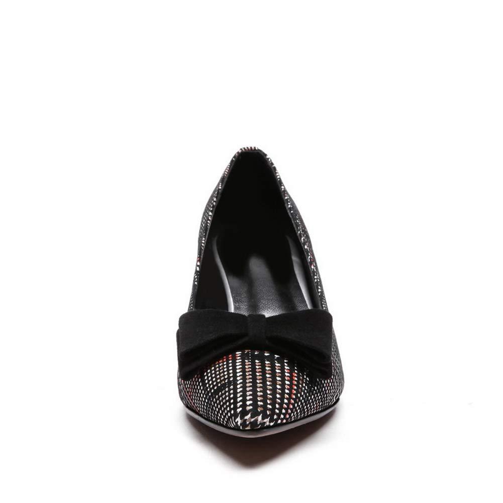 BalaMasa Womens Checkered Bows Bridal Urethane Pumps Shoes APL11228