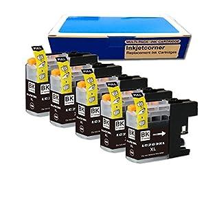 Inkjetcorner 5 BLACK Compatible Ink Cartridges + Chip for Brother LC203 BK LC203XL MFC-J460DW, MFC-J480DW, MFC-J485DW, MFC-J680DW, MFC-J880DW, MFC-J885DW