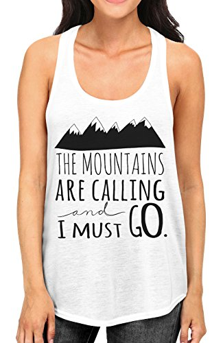 - Junior's The Mountains Are Calling And I Must Go Tee B574 PLY White Racerback Tank Top Medium