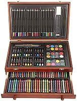 Juego de arte de lujo, 141 piezas de pintura profesional, boceto y dibujo, con caja de almacenamiento de madera y bloc de dibujo A5: Amazon.es: Juguetes y juegos