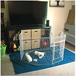 Chinchilla Exercise Pen with Door Playpen Indoor Folding Cage Small Animal Portable Pet & eBook by OISTRIA
