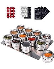panthem 12 stuks magnetische roestvrijstalen kruidenpotjes, ronde kruidenpotjes, kruidenpotjes, transparante bovenkant voor specerijen, magnetisch op koelkastgrill, 144 kruidenetiketten