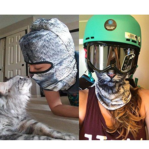 Outgeek Cat Mask, Women Men Balaclava Summer Full Face Hat Animal Ears Sports Helmet Climbing Fishing Cap by Outgeek (Image #1)
