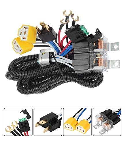 (H4 9003 Dual High Low Beam Headlight Relay Wiring Harness With High Heat Ceramic Plugs)
