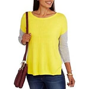 Concept's Womens Color Block Center Seam Sweater, Yellow/Grey, Large