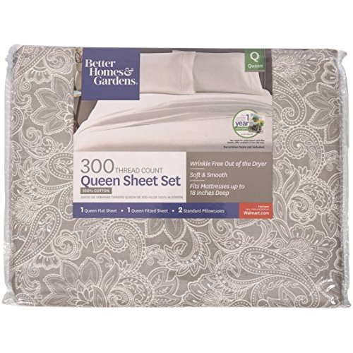 Better Homes and Gardens 300 Thread Count Sheet Collection Queen, Grey Paisley from Better Homes & Gardens