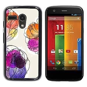 Be Good Phone Accessory // Dura Cáscara cubierta Protectora Caso Carcasa Funda de Protección para Motorola Moto G 1 1ST Gen I X1032 // Floral Watercolor Painting Summer Purple